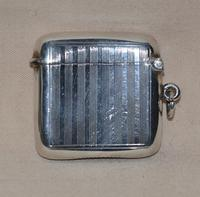 1908 Edwardian Sterling Siver Vesta Case by Birmingham Siversmith Hayes & Co (2 of 5)