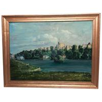 "Fine 20th Century Oil Painting Royal Windsor Castle ""View From The Thames"" (8 of 12)"