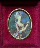 Gorgeous Original Vintage Miniature Portrait Oil Painting in 18th Century Manner (3 of 10)