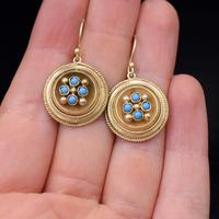 Antique Victorian Round Turquoise Gold on Silver Drop Earrings (6 of 6)