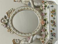 Pair of Small Dresden Victorian Style Porcelain Cherub Table Mirrors (13 of 60)
