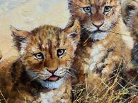 Exceptional 'pride Of Lion Cubs' Large Wildlife Oil Painting By 'silvia Duran' (7 of 12)