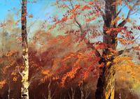 Immaculate Large Original Mid-20thc Vintage Autumn River Landscape Oil Painting (8 of 11)