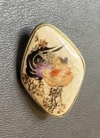 Satsuma Brooch Hand Painted with Cockerel (2 of 3)