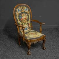 Victorian Carved Rosewood Armchair with Tapestry Upholstery (13 of 13)