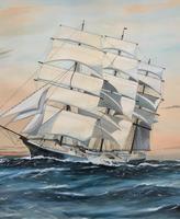 Awesome Tea Clipper Ship 'Hornet' Rough Seas Seascape Watercolour Painting c.1909 (8 of 12)