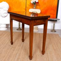 Writing Table 19th Century Flamed Mahogany Folding Card Console Table (2 of 12)