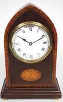 Impressive Solid Mahogany Lancet Cased Timepiece Clock with Satinwood Inlaid Decoration