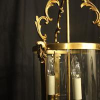 French Gilt Bronze Convex Antique Hall Lantern (9 of 10)