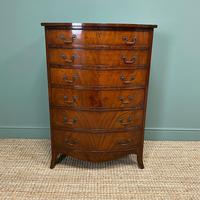 Superb Quality Antique Edwardian Bow Fronted Slim / Tall Chest Of Drawers