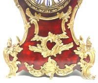 Wow! Phenomenal French Boulle Mantel Clock Red Shell floral Ormolu Mounts 8 Day Mantle Clock (8 of 10)