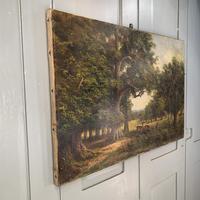 Antique Landscape Oil Painting of Deer in Richmond Park Signed JI Lewis (2 of 10)
