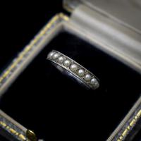 Art Deco Pearl Full Eternity Sterling Silver Band Ring (9 of 10)