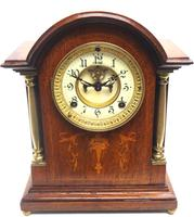 Superb Ansonia Oak Inlaid Mantel Clock Arched Top 8 Day Striking Mantle Clock (9 of 11)