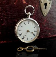 Antique Fine Silver Ladies Pocket Watch, Fob Watch (12 of 14)