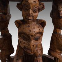 Antique Ceremonial Yoruba Stool, West African Hardwood Side / Lamp Table c.1900 (7 of 12)