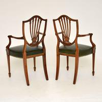 Pair of Antique Mahogany Shield Back Carver Armchairs (9 of 9)