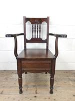 Antique Edwardian Mahogany Commode Armchair (2 of 9)