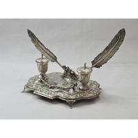 Impressive Sterling Silver Inkwell, approximately 42 x 21cm. (2 of 7)