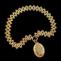 Antique Victorian Mourning Locket Collar Necklace Silver 18ct Gold Gilt Dated 1883 (9 of 9)
