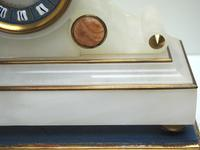 Fine Antique French Alabaster Mantel Clock – Blue Painted Dial 8-day Striking Mantle Clock (5 of 8)