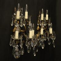 French Pair of Bronze & Crystal 5 Arm Antique Wall Lights (10 of 10)