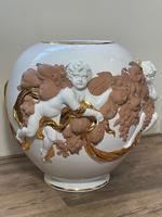 Beautiful Hollywood Regency Style Oversized Porcelain & Terracotta Cherub Floor Vase (3 of 52)