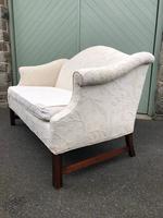English Upholstered Camel Back Sofa (7 of 8)