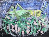 Original mixed media painting 'Grasshopper' by Toby Horne Shepherd 1909-1993. Signed c.1960