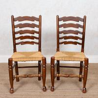 6 Oak Elm Rushwork Country Dining Chairs (7 of 10)