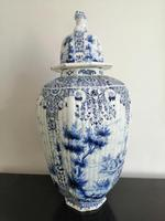 Imposing 19th Century Dutch Delft Blue & White Vase & Cover (3 of 15)