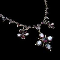Antique Georgian Flat Cut Garnet 15ct Gold Full Riviere Necklace with Pansy Drops & Cross (5 of 9)