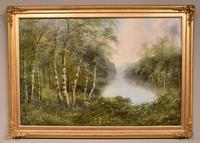 """Oil Painting Pair by F. Walters """"Spring on the Severn, Ringwood"""" """"Autumn, Ringwood"""" (6 of 10)"""