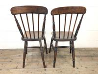 Pair of Antique Elm Farmhouse Kitchen Chairs (8 of 8)