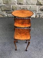 Antique Burr Walnut Nest of 3 Tables (6 of 9)