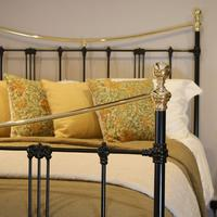 5ft Black Art Nouveau Brass and Iron Bed (2 of 7)