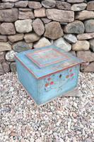Swedish 'folk art' original blue paint box from hälsingland region, 1847. (8 of 26)