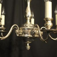 English Silver Plated 5 Light Antique Chandelier (3 of 10)