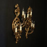 Florentine Silver Giltwood Antique Wall Lights (2 of 10)