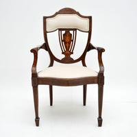 Antique Edwardian Inlaid Mahogany Armchair (2 of 11)