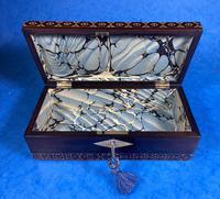 William IV Rosewood Glove Box with Superb Stickware & Tunbridge Ware Inlay (11 of 12)