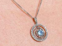 0.79ct Aquamarine, 0.31ct Diamond & 9ct Yellow Gold Necklace - Antique c.1910 (9 of 9)