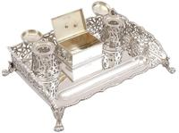 Sterling Silver Gallery Inkstand - Antique Victorian 1898 (4 of 9)