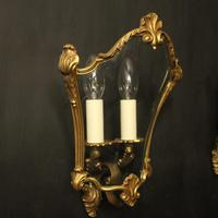 French Pair Of Gilded Bronze Half Lanterns (8 of 10)