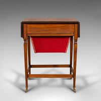 Antique Drop Leaf Sewing Table, English, Rosewood, Side, Lamp, Regency c.1820 (7 of 12)