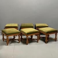 Set of 6 satinwood modular stools in vintage velvet (3 of 8)