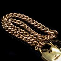 "Vintage Heart Padlock Fancy Curb 9ct 9K Gold Bracelet 6"" (7 of 11)"