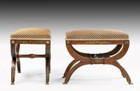 Elegant Pair of 19th Century Mahogany Framed Stools (4 of 5)