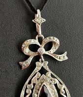 Antique Edwardian Paste Pendant, Sterling Silver (7 of 11)