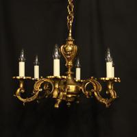 French 6 Light Gilded Bronze Antique Chandelier